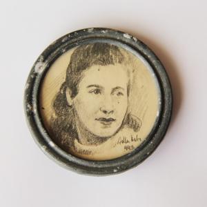 Metal Bracelet and Framed Miniature Portrait