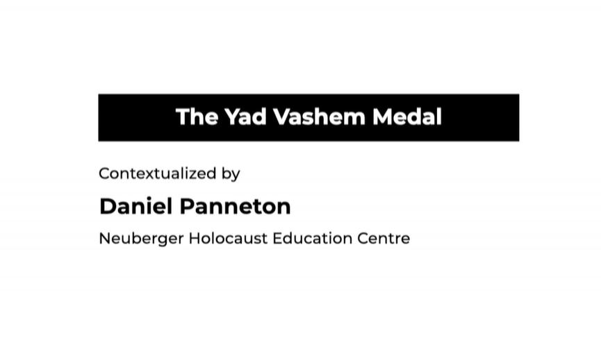 The Yad Vashem Medal testimonial